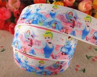 72 - Ribbon - grosgrain - 25 mm sold by 50 CM - Cinderella ribbon Cinderella