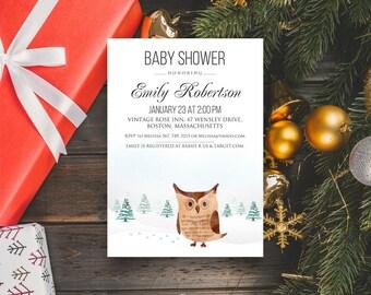 Little Owl Baby Shower Printable Invite Woodland Baby Shower Winter Forest Baby Shower Invitation Forest Owl Baby Shower Invitation Editable