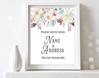 Name and Address Sign Address on Envelope Sign Boho Floral Bridal Shower Decor Printable Art Watercolor Floral Shower Sign Digital Download