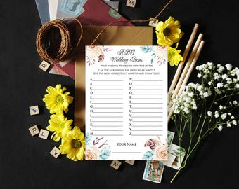 Floral Bridal Shower Game Printable ABC Wedding Items Game Wedding Shower Games DIY Bridal Game Pink Flowers Feathers Wedding Game Download