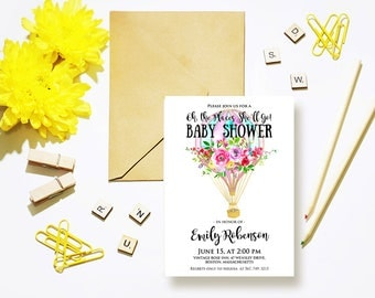 Floral Baby Shower Invitations Hot Air Balloon Watercolor Invites Printable Oh the Places She'll Go Baby Shower Party Invitation Digital DIY