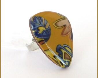 Ring Fimo polymer clay blue yellow mustard resin original