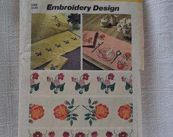 Vintage (1974) Simplicity embroidery transfers. Three different floral designs.