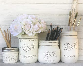 Desk accessory storage  Painted distressed jar office storage. white jars, white desk, pen pencil paint brush storage. Custom desk storage