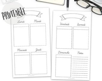French Weekly planner personal insert, Vertical Weekly Planner Printable, planner insert, filofax personal, kikki k medium, bullet, download