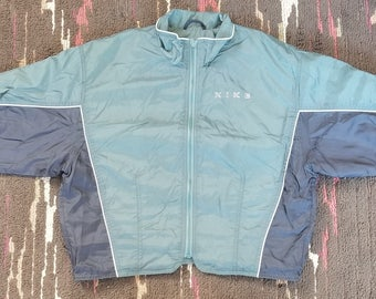 Nike Vintage 90's Women's Big Swoosh Logo Green and Black Windbreaker Jacket Medium