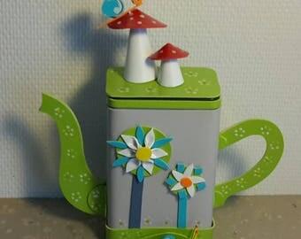 Recycled metal box (flowers, snails, mushrooms) TEAPOT-landscape