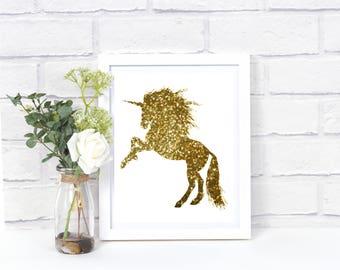 GOLD Unicorn Wall Decor 8x10