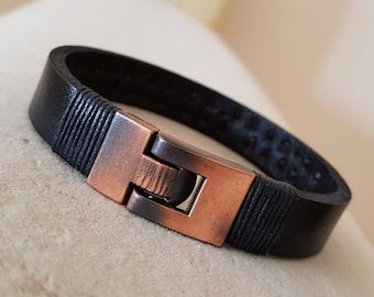 Gift for Men Leather Bracelet  Man Leather Bracelet Personalized Leather Bracelet Coordinate Customized Gift