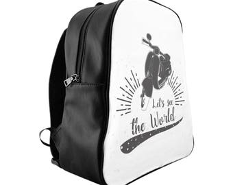 Vespa bag school - free time - black and white backpack - vintage design
