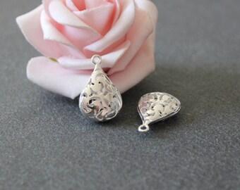 x 2 charms/pendants drop 21x13.5 BRA47 mm silver plated brass