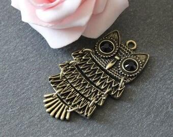 x 1 articulated metal OWL pendant bronze BRB121