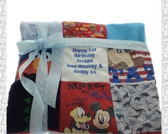Custom Made Personalised Patchwork Quilt Blanket. Handmade from Baby or Loved Ones Clothes.