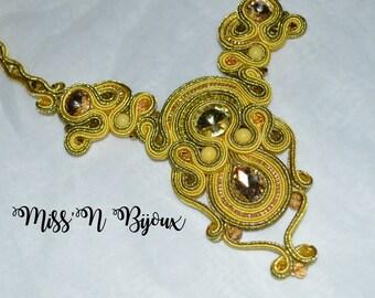 Yellow soutache necklace