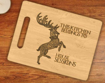 Personalized This Kitchen Belongs To House Custom Name Barathien Deer Engraved Cutting Board