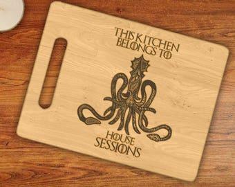 Personalized This Kitchen Belongs To House Custom Name Greyjoy Octopus/Kraken Engraved Cutting Board