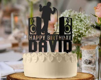 Personalized Karaoke Singer Male Birthday Cake Topper