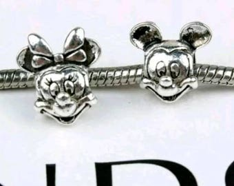 Pandora disney  charms authentic mickey mouse, minnie mouse disney pandora charms set 925 ale silver disney jewellery craft making
