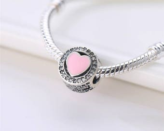 Pandora charms inspired Pink crystal hearts oval pandora charm  bracelet / pandora necklaces jewellery making sterling silver gift