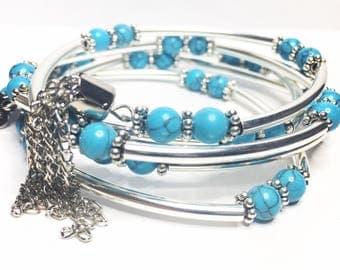 Turqoise/silver wire wrap bracelet