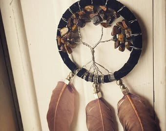 Handmade Tiger's Eye and Agate dreamcatcher