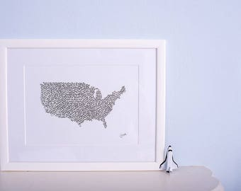 Travel and Adventure- map of USA calligraphy print