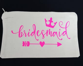 Bridesmaid neon make up bag pencil case storage bag make up brush bag bow bag can have many uses zipped bag cotton bag hen party wedding day
