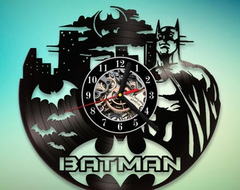 Batman Vinyl Clock / Handmade Art / DC Comics / Vinyl Record Clock / Art Decor / Gift for Fans / Home Decor / Unique Christmas Gift / Gotham