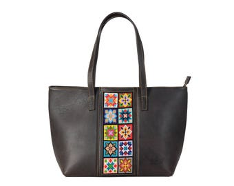 Embroiderd Leather Tote bag Dark Brown- Wixárika Mexican Art
