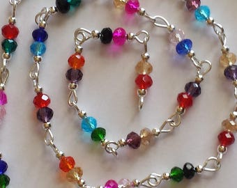 chain/beads 4mm faceted multicolor glass 55cm