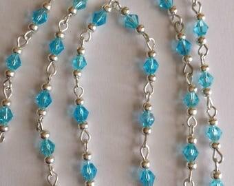 chain/bicones 4mm aquamarine glass 55cm