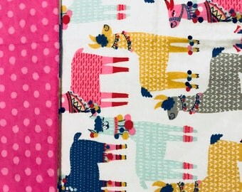 Bright & Colorful Llama Patterned Child/ Toddler Sized Sewn Blankets