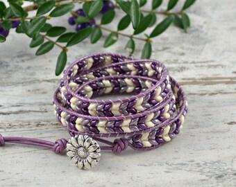Beaded Wrap Bracelet, SuperDuo Wrap Bracelet, Boho Wrap Bracelet, Leather Wrap Bracelet, Leather Wrap, 3 Leather Wrap