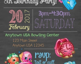 Shopkins Birthday Invitation, Shopkins Invitation, Shopkins Chalkboard Invitation, Shopkins Party Invitation, Shopkins Invitation