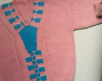 PDF Knit Children V-neck Sweater
