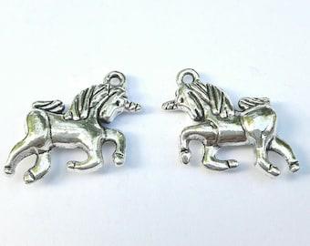 2 antique silver metal Unicorn charms