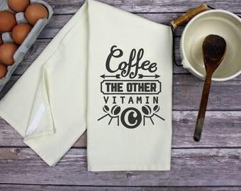 Kitchen Dish Towel -  Tea Towel - Hand Towel - Kitchen Towel - Dish Towel - Coffee The Other Vitamin C