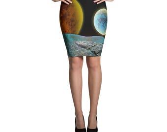 Moonscape Space Art Pencil Skirt