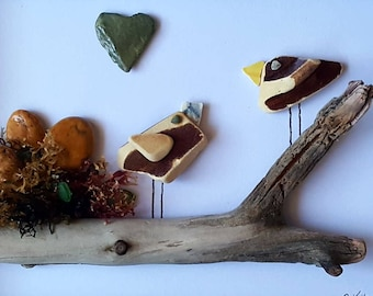 Cornish Pebble Art Picture Birds on Driftwood Unique Handmade Box Framed Art TACTILE