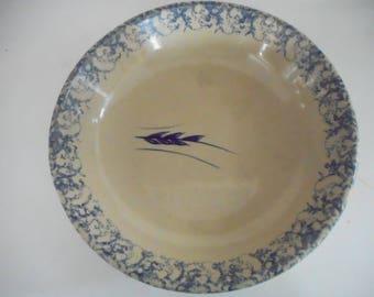 splatterware leaf pasta plate, Roseville pottery, spongeware