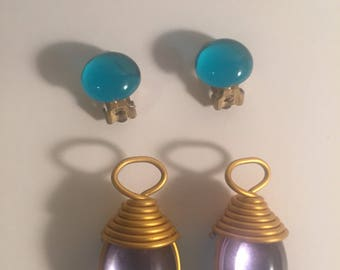 Reversible color clip earrings