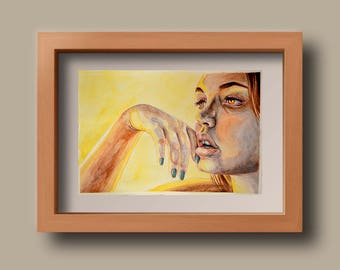 Sunset Watercolour Painting of a Woman Original // A4 painting // illustration