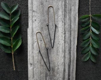 Dagger Hoops - Steel and Gold Hand Shaped Wire Geometric Earrings Simple Rustic Black and Gold Mixed Metal Triangle Earrings