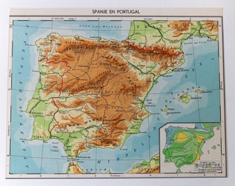 Vintage Portugal Map Etsy - Portugal map to print