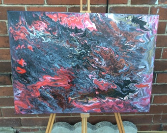 """Original abstract acrylic flow painting 20"""" x 28"""" free shipping"""