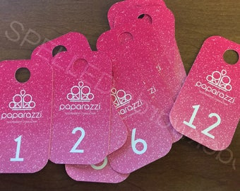 Facebook Live Sale Number Tag Cards Paparazzi Regular & Reversed - Set Of 100 - Pink Glitter - Rounded Corners