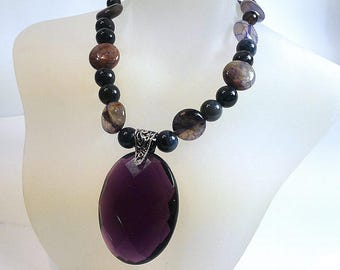 Purple and Black Agate Necklace, Sterling Silver Necklace, Gemstone Necklace, Purple Glass Pendant Necklace, Toggle Necklace, Valentine Gift