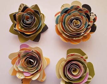 Set of 12 Rolled Paper Flowers, Patterned Paper Flowers, Shadow Box Flowers