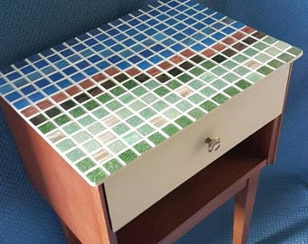 GC023WH Small table, mosaic table, upcycled table, side table, occasional table, entry table, hallway table, modern mosaic, handmade mosaic.