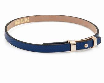Saxe Blue Epsom Leather Choker